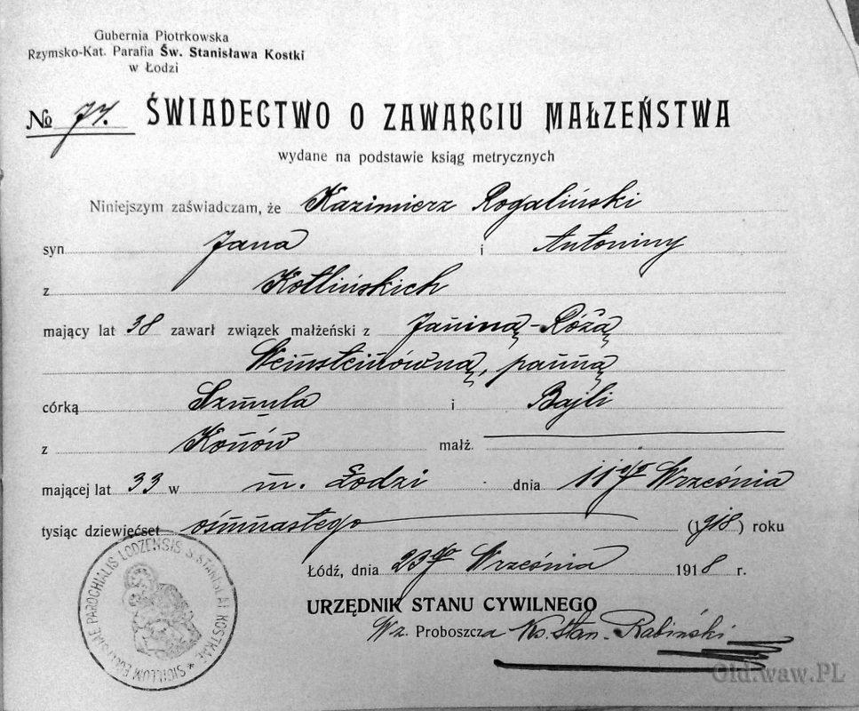 Ślub Róży-Janiny z Kazimierzem Rogalińskim